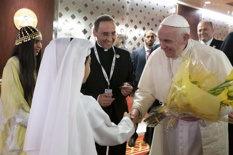 In pictures: Pope Francis arrives in Abu Dhabi for historic visit to the UAE