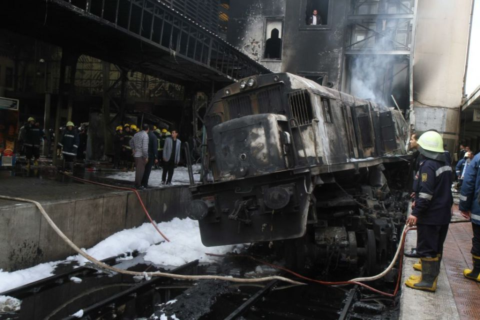 In pictures: Train crash sparked a major fire at Cairo's Ramses station