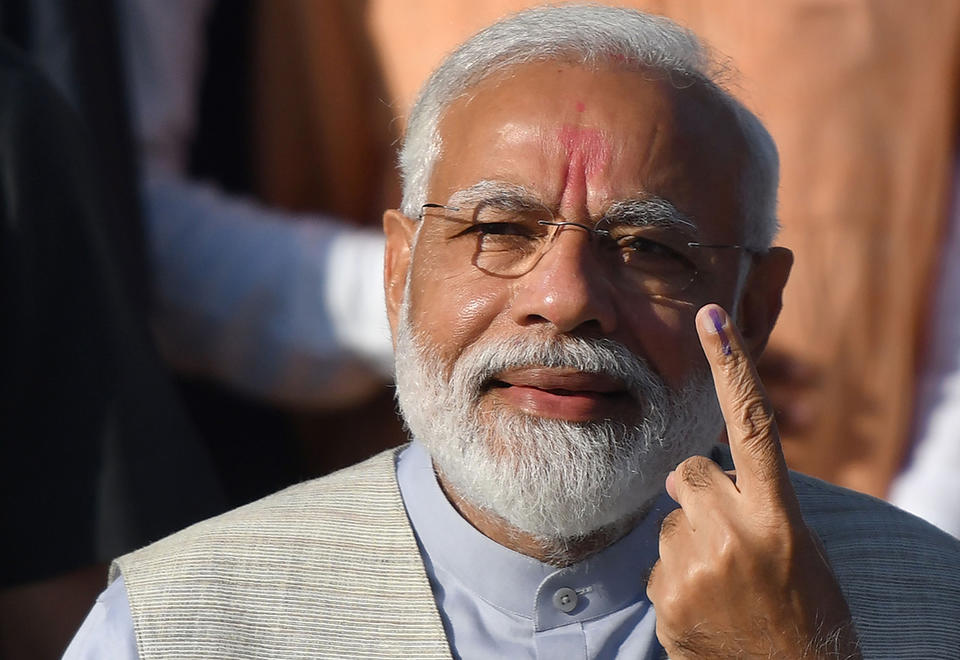 In pictures: Narendra Modi cast his vote on country's general election