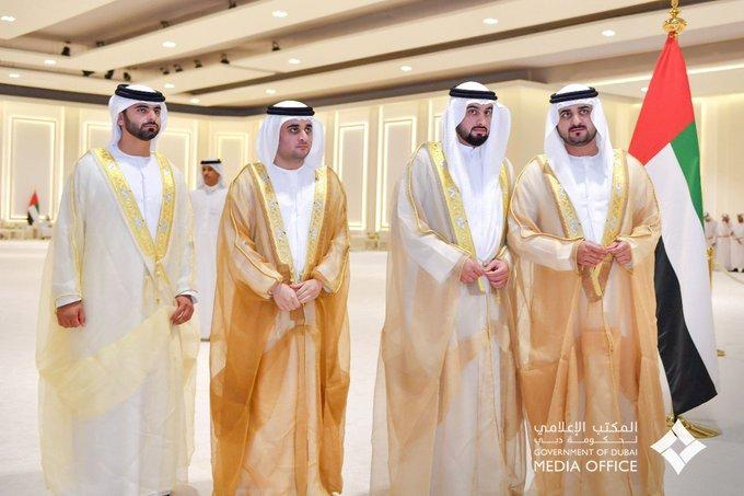 Sheikh Mohammed and Rulers of the Emirates attend the Al Nahyan and Al Maktoum family wedding ceremony