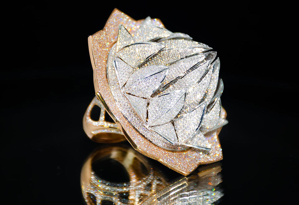 Put a $4.9m diamond ring on it: Sharjah showcases Lotus Temple-inspired jewel