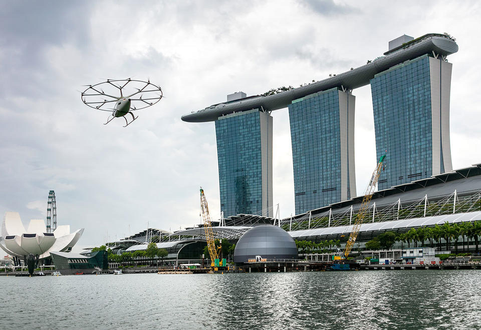 In pictures: Electric air taxi Volocopter debuts over Singapore's Marina Bay
