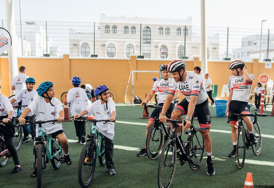 In pictures: UAE Team Emirates visits Al Rabeeh School in Abu Dhabi