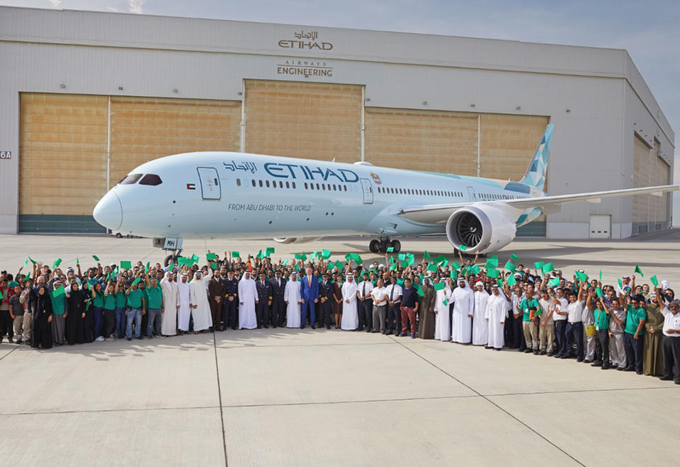 Etihad's flagship 'Greenliner' touches down in Abu Dhabi