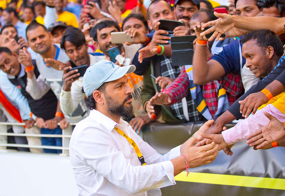 In pictures: Cricketing superstars Yuvraj Singh and Shahid Afridi at Expo 2020 cricket final