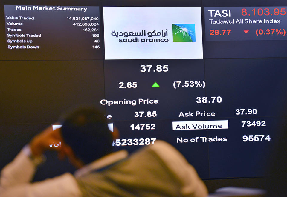 Saudi Aramco slumps below IPO price as Middle East stocks feel effects of oil-price war