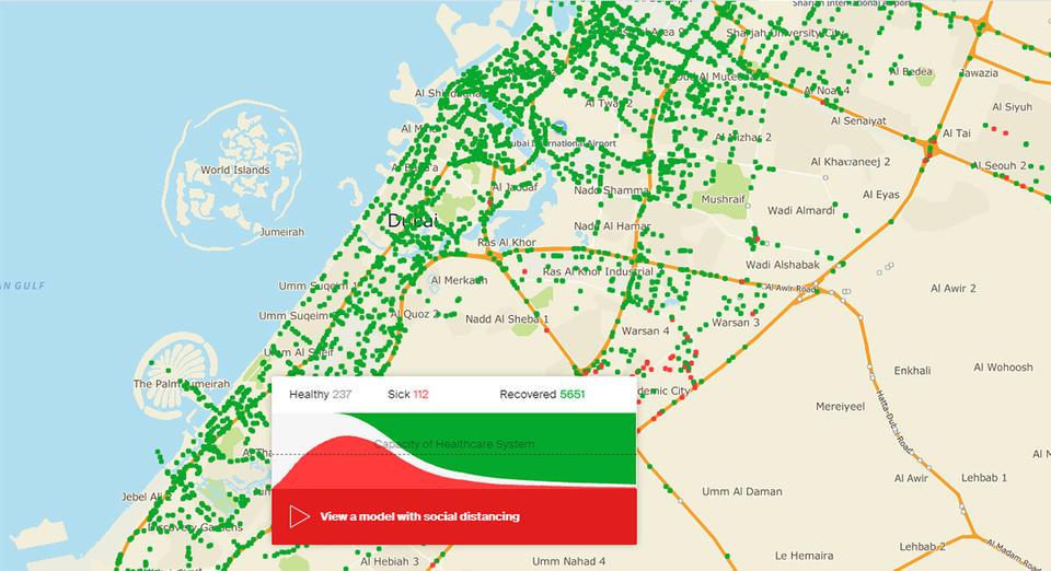 Dubai map shows benefits of social distancing amid coronavirus