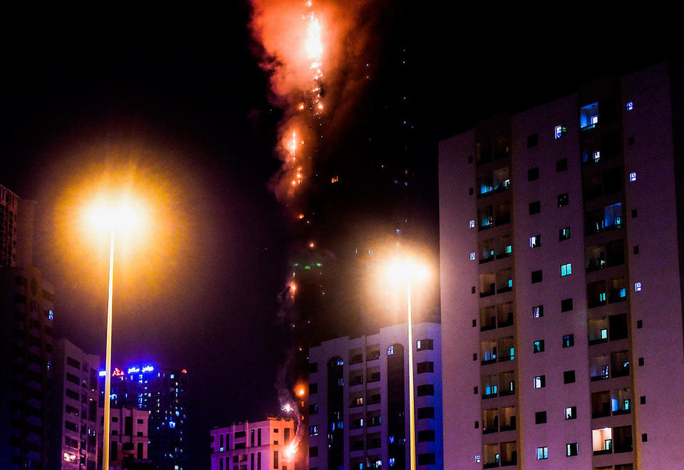 Tower in Sharjah blaze used now banned cladding