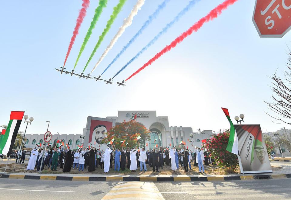 In pictures: Al Fursan aerobatic performed stunning display over UAE hospitals